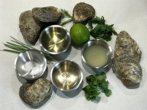 Ingredients used for making steamed oysters on the grill